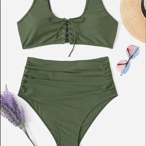 Two piece plus size swim suit